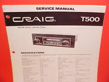 CRAIG STEREO CASSETTE TAPE PLAYER/AM-FM/MPX RADIO FACTORY SERVICE MANUAL T500