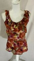 Women's New York and Company Sleeveless Floral Ruffled Neckline Top Size Medium