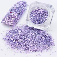 3g Nail Art Glitter Powder Dust Acrylic UV Gel Manicure Tips Mixed Purple #9