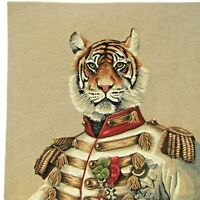 "NEW 18"" ARISTOFARI TIGER BELGIAN TAPESTRY CUSHION COVER WITH ZIP CLOSURE, 5319"