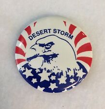 Vintage Pinback Button Desert Storm Eagle USA Red White Blue Patriotic