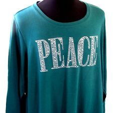Plus 2X PEACE Holiday Tee Green L/S Top Shimmery Rhinestones Shirt Catherines