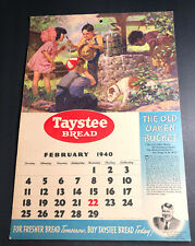 Taystee Bread Calendar Paperboard Sign Hal Roach Our Gang 1940 February
