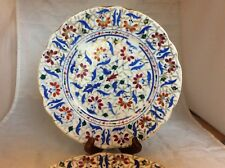 2 Antique FISCHER & MIEG Bohemian Salad Plates, Blue, Red, Gold