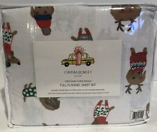 Cynthia Rowley Christmas Flannel Full Sheet Set Dogs Dachshund Weiner Sweater