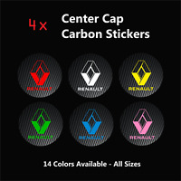 4x RENAULT Sport Badge Logo Carbon Center Caps Alloy Rim Wheel Hub Stickers