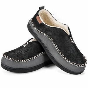 EverFoams Men's Fuzzy Sherpa Lined Slippers Memory Foam Suede Moccasin Shoes