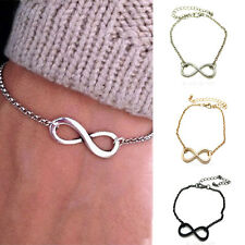 NEW Infinity Bracelet Silver Black Gold Women Fashion Jewellery Vintage Gift