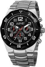 August Steiner AS8161SSB Swiss Quartz Day Date GMT Black Bezel Dial Mens Watch