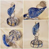 "Rare Vintage Hand Blown Art Glass Swirled Perfume Bottle w/ Leaf Stopper 6"" Tall"