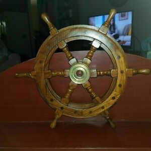 """18"""" Brass Nautical Boat Ship Wheel Brown Wooden Steering Wheel Wall Décor Gift"""
