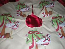 TROPICAL PINK FLAMINGO, RED BOWS, PEPPERMINTS CHRISTMAS TREE SKIRT 4 FT ROUND
