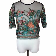 782853f2fd8 Romwe Sheer Mesh Floral Embroidery Crop Top Womens Size Small Black Blue  Pink S