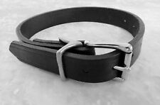 """NEW Black Leather DOG PET COLLAR 15""""-22"""" MED LG 1/4"""" Thick Heavy Duty SS Buckle!"""