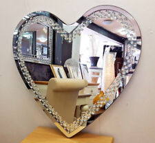 Heart Shape Floating Crystal Glass Silver Bevelled Wall Mirror 70x70cm