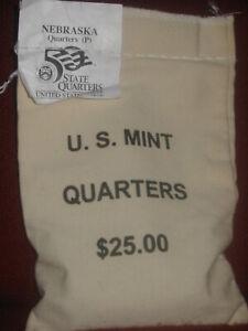 NEBRASKA (NE-P) State Quarters US Mint Sewn UnOpened $25 Bag QP1 [100 coins]