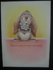 1990s Vintage Greeting Card Tim Bowers Easter Bunny W/ Daisies