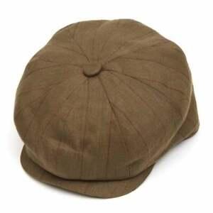 Christys' Hats Baker Boy Cap Linen Khaki Striped
