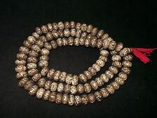 Old Nepal Tibet Buddhist 108 Carved Mantra Conch Shell Mala Prayer Beads