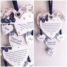 45th Sapphire Wedding Anniversary Gift Wooden Keepsake Heart