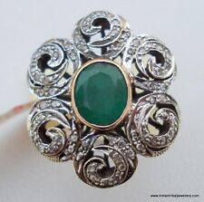 Gold Silver Ring Cocktail Victorian Diamond Emerald 14k