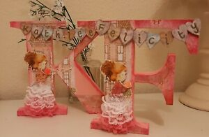❤MDF Initial Capital letter, girl with rose design. Freestanding personalised ❤