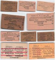 Genuine Vintage County Donegal Railways Joint Committee tickets (1906s-1960s).