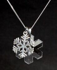 Silber Hals-Kette mit Swarovski® Eis-Kristall Eisblume+Silber Schneeflocke +Etui