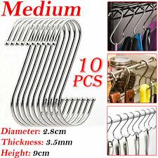 10X Medium Stainless Steel Hanger Hanging S Hooks Kitchen Pan Utensil Cloth 9cm