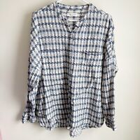 Lou & Grey Blue Houndstooth Plaid Tie Front Dolman Sleeve Blouse Size XL