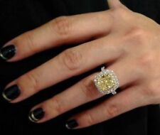 Certified 4.30Ct Yellow Cushion Diamond Engagement Ring in Real 14K White Gold