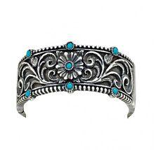 Montana Silversmiths - Turquoise Passion Flower Hinged Bangle Bracelet  - BC1182