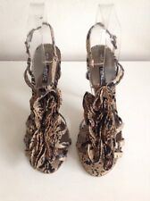 """Next Animal Print Strappy Ruffle Front 4.5"""" Heels Beige Black Size 5 Shoes"""