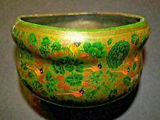 ANTIQUE GREEN & GOLD INDO-PERSIAN? KASHMIRI? PAPER MACHE POT WITH BIRD PATTERN