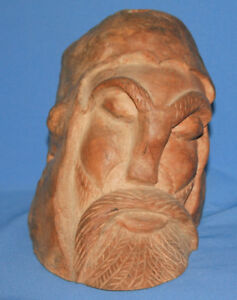 Antique European Male Head Hand Carved Wood Statuette