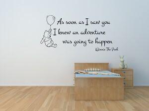 Winnie  the pooh Quote Wall art sticker Nursery children's bedroom playroom Diy