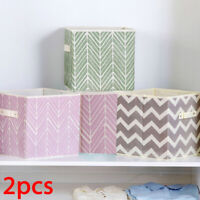 4 x FOLDING CANVAS STORAGE BOX COLLAPSIBLE CLOTHES ORGANIZER DURABLE FABRIC CUBE