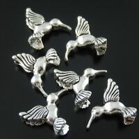 30 PCS Antique Silver Alloy Bird Accessory Jewelry Charms Pendant 15*15*5mm