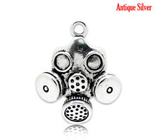 2 pcs Antique Silver Gas Mask Charm Pendants 33x28mm LC0785