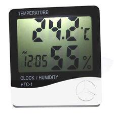 Digital LCD Temperature Humidity Meter Alarm Clock Calendar Temp HTC-1