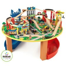 KIDKRAFT WOODEN TRAIN SET & TABLE CITY EXPLORERS CHILDRENS TOYS