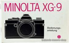 """MINOLTA Bedienungsanleitung """" XG-9 / XG9 """" User Manual Kamera Anleitung (X2347"""