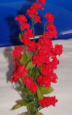 Artificial Aquarium 11 inch RED silk FLOWER PLANT with STONE BASE