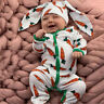 Newborn Baby Boy Girl Romper Jumpsuit Bodysuit Playsuit+Rrabbit Ears Hat Outfits