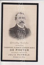 Oud doodsprentje DP T.F.E.M. De Preter Pauwels Schepen Putte bij Mechelen 1911