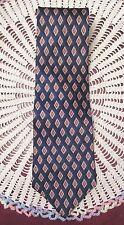 Staffordshire Mens Necktie Tie 100% Silk Navy Burgundy Gold Diamond Pattern
