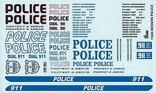 GOFER RACING 1:24 AND 1:25 SCALE MODERN POLICE CAR DECAL SET FOR MODEL CAR