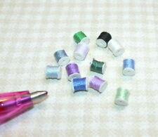 Miniature Silk Thread Spools-12 Blue Shades: DOLLHOUSE 1:12 Scale