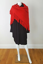 "*LANVIN* VINTAGE RED WOOL SHAWL 74"" BY 33"""