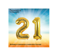 """Giant 21st Birthday Party 40"""" Foil Balloon Helium Air Decoration Age 21 GOLD"""